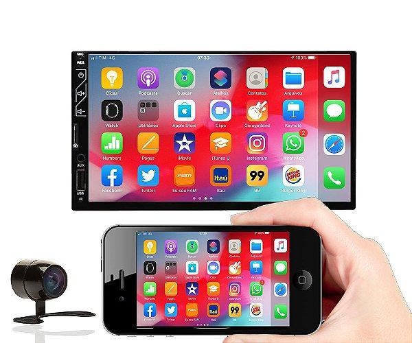 Central Multimídia Mp5 Player Automotivo USB, SD, Bluetooth, Espelhamento Android e iPhone, rádio FM e câmera de ré
