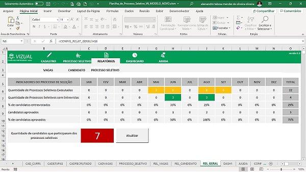 Planilha de Processos Seletivo em Excel 6.0