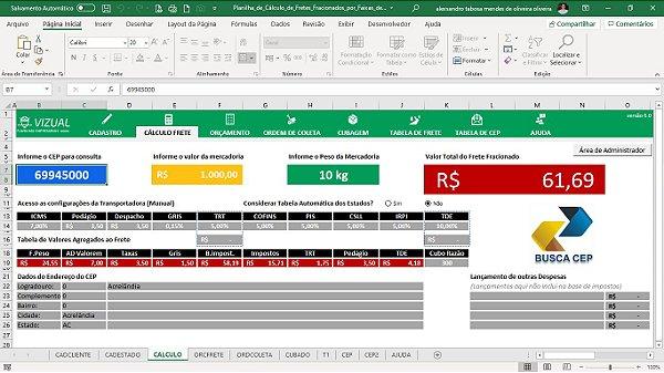 Planilha de Cálculo de Fretes Fracionados por Faixas de Cep em Excel 6.0