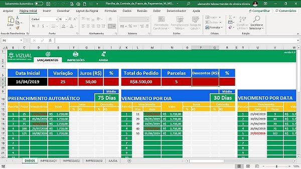 Planilha de Controle de Prazos de Pagamentos (Vencimentos) em Excel 6.0