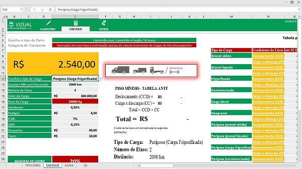 Pacotes com todas as planilhas de Fretes para Transportadoras em Excel 6.0