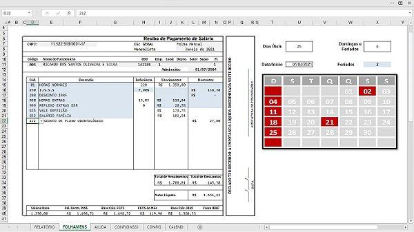 Planilha de Conferência da Folha de Pagamento em Excel 6.0