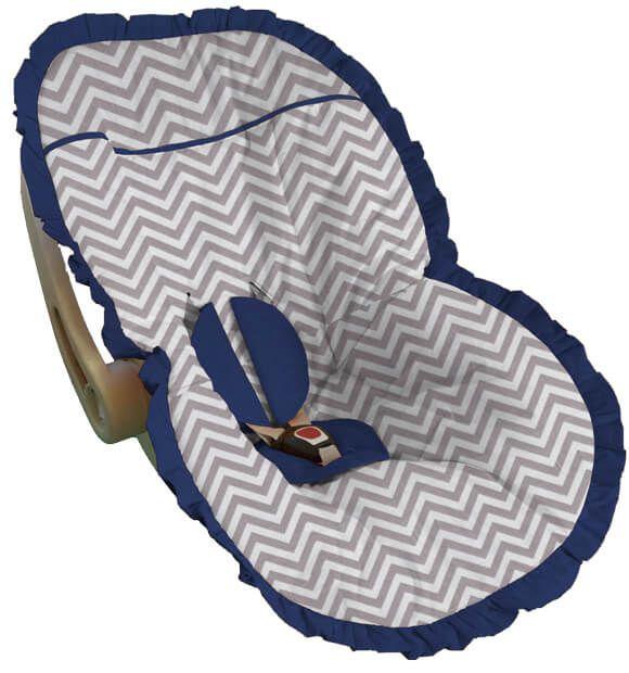 Capa para bebê conforto chevron cinza