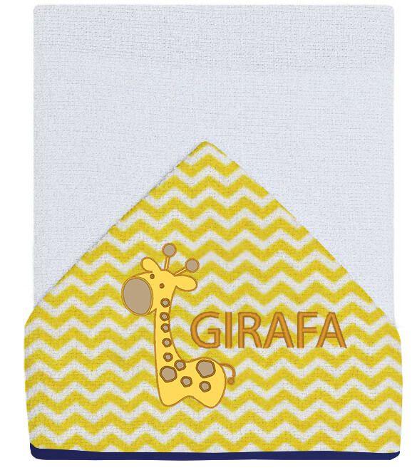 Toalha para Banho Bebê Bordada Girafa