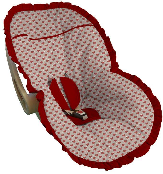 Capa para Bebê Conforto Coração Vermelho Copenhagen