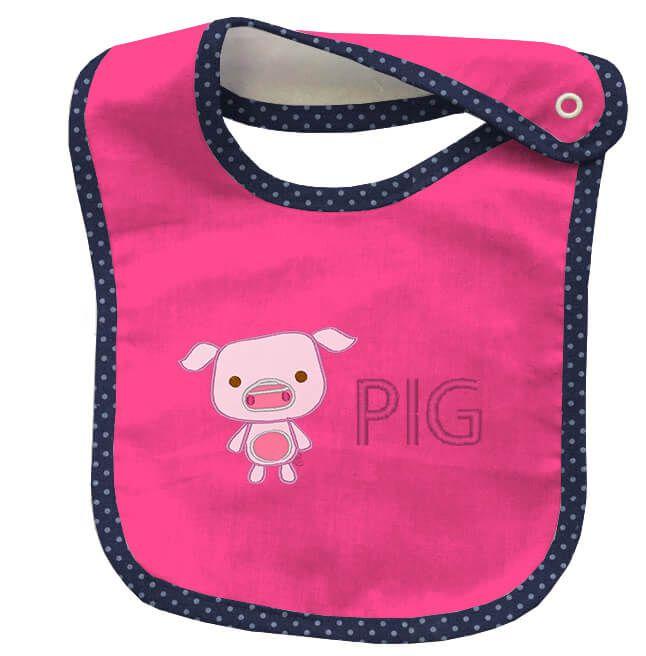 Babador Bordado Poá Pink Pig