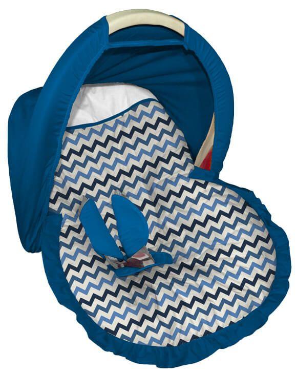 Capa para bebê conforto Tricolor Azul com Capota