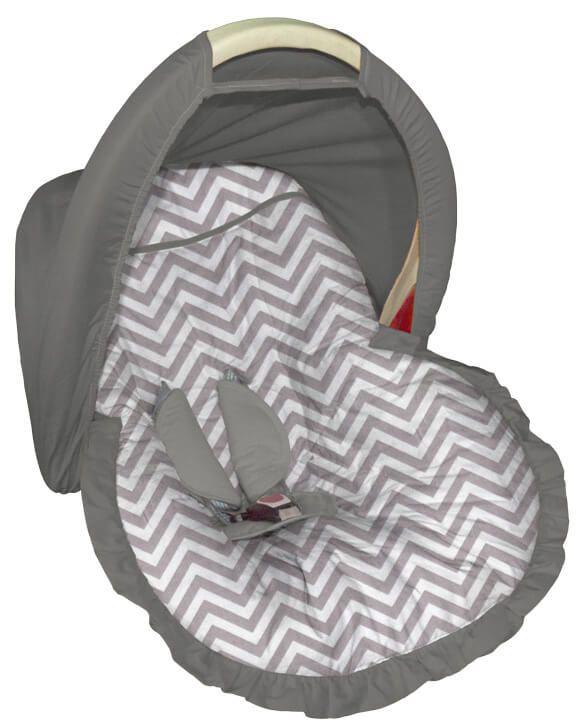 Capa para bebê conforto Chevron Cinza com Capota
