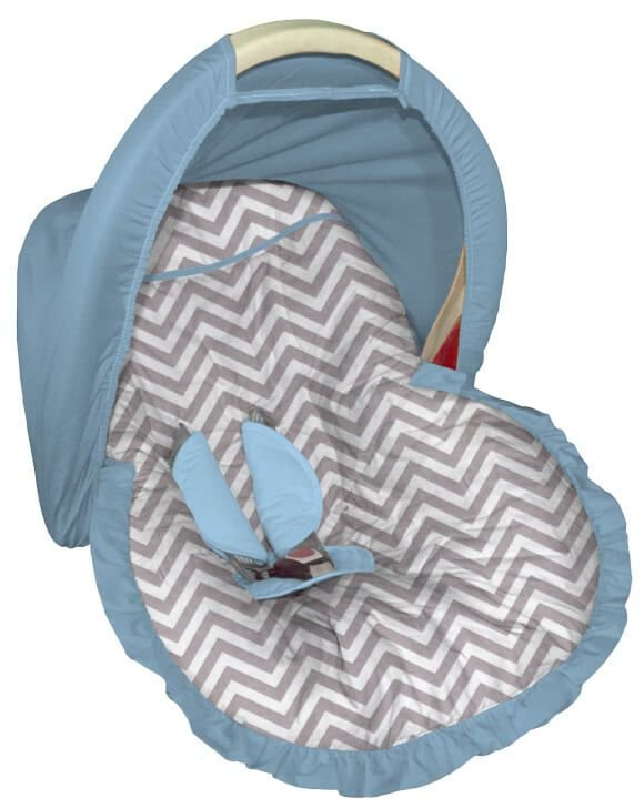 Capa para bebê Conforto Chevron Cinza Capota Azul