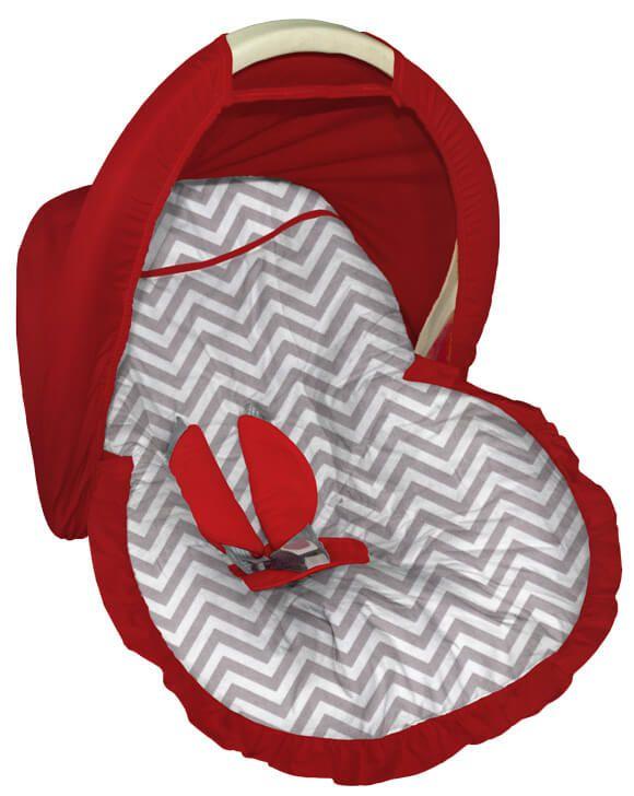 Capa para bebê Conforto Chevron Cinza Capota Vermelha