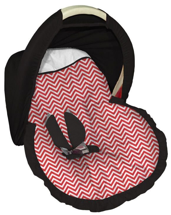 Capa para bebê Conforto com Capota Chevron Vermelho
