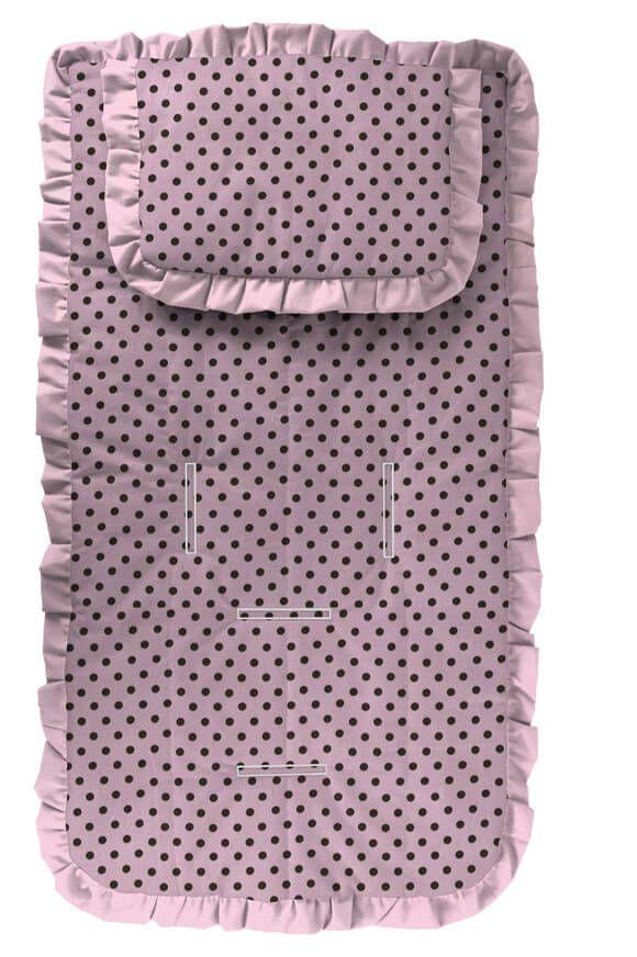 Capa para Carrinho com Travesseiro Rosa Bebê Poá