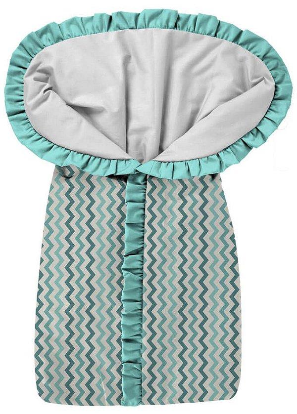Porta Bebê Chevron Tons Verde Babado Tiffany
