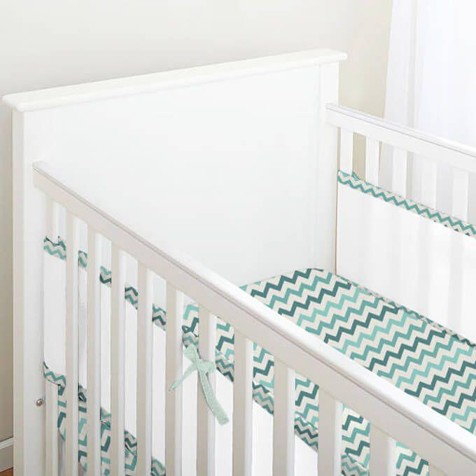 Tela para Berço de Bebê Respirável Chevron Colorido Tons Verde