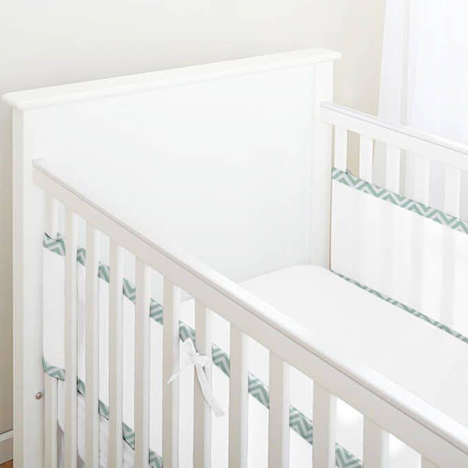 Tela para Berço de Bebê Respirável Chevron Verde