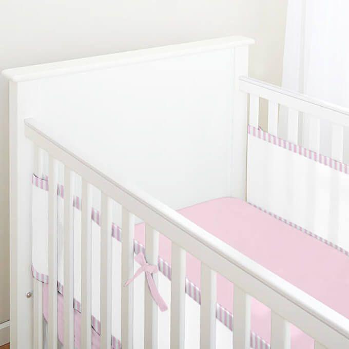 Tela para Berço de Bebê Respirável Listrado Rosa Claro