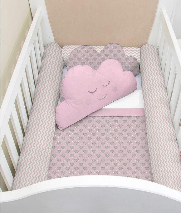 Kit Berço Rolinho 7 Peças Listrado com Coração Rosa Bebê