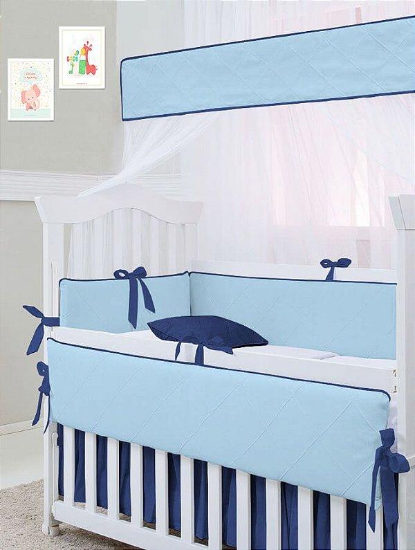 Kit Berço 10 Peças Nervura Azul Bebê