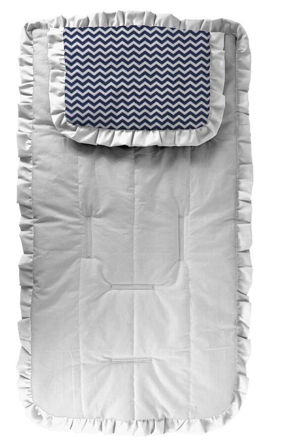 Capa de Carrinho com Travesseiro Branca Mini Chevron Azul Marinho