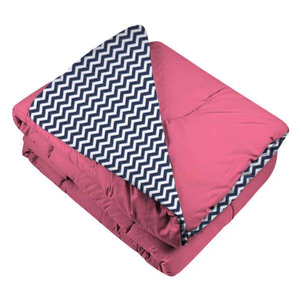 Edredom de Berço Pink e Mini Chevron Azul Marinho