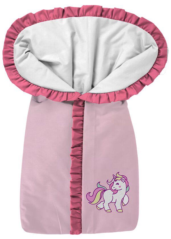Porta Bebê Rosa Bordado Unicórnio
