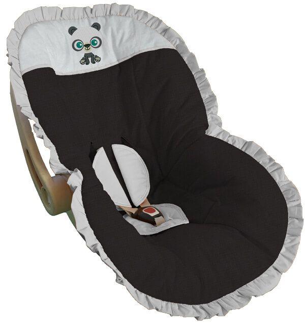 Capa para Bebê Conforto Preta Bordada Bebê Panda