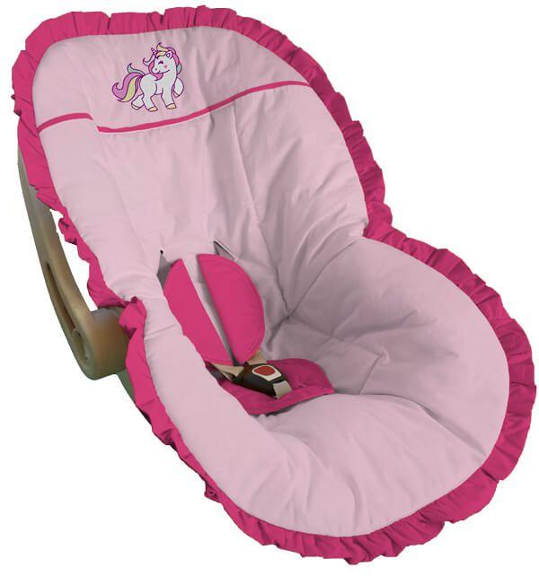 Capa para Bebê Conforto Rosa Bebê Bordada Unicórnio Babado Pink
