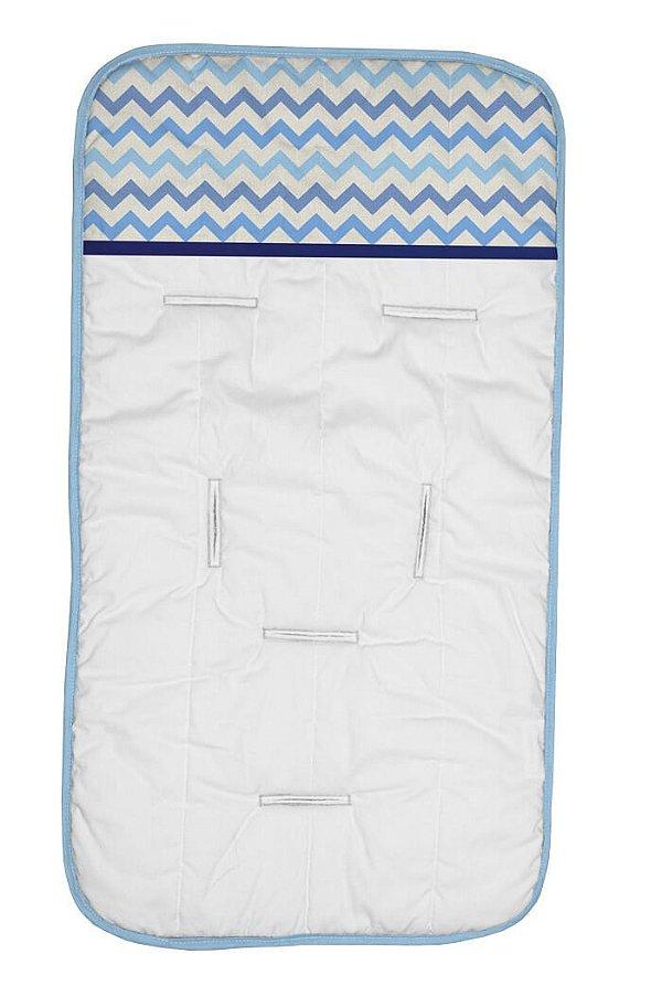Capa de Carrinho Branca com Chevron Tons Azul