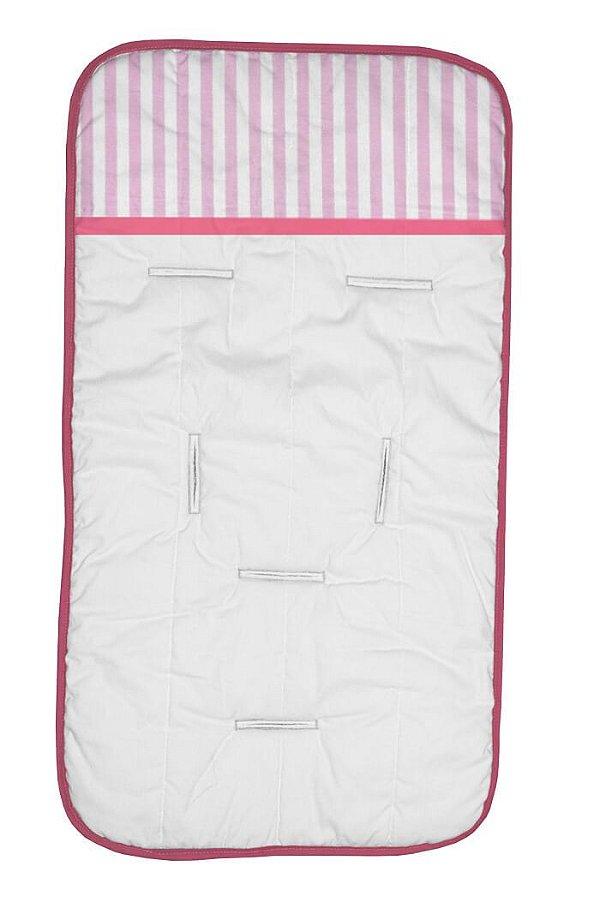 Capa de Carrinho Branca com Listras Rosa Bebê e Detalhes Pink