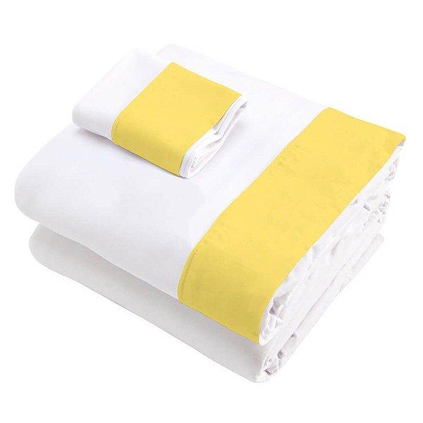 Jogo de Lençol 3 Peças para Berço Branco Detalhes em Amarelo Ouro