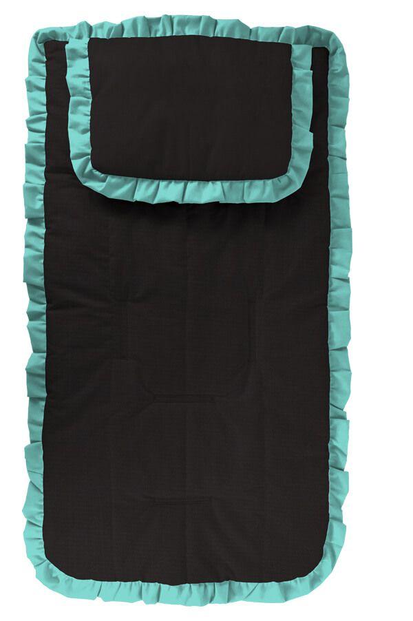 Capa Carrinho com Travesseiro Preta com Babado Verde Tiffany