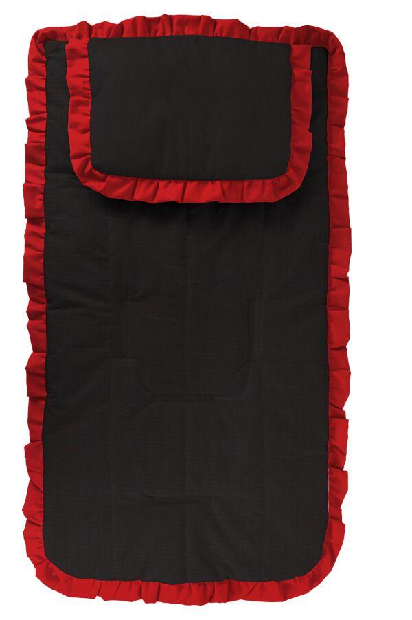 Capa Carrinho com Travesseiro Preta com Babado Vermelho