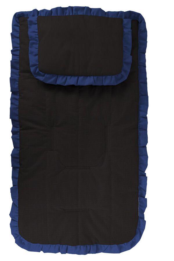 Capa Carrinho com Travesseiro Preta com Babado Azul Marinho