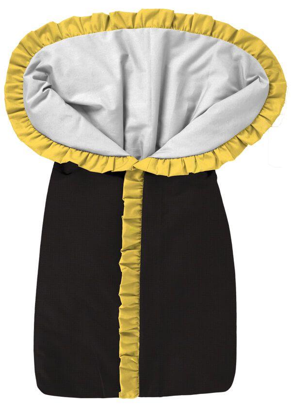 Porta Bebê Saco de Dormir Preto com Babado Amarelo