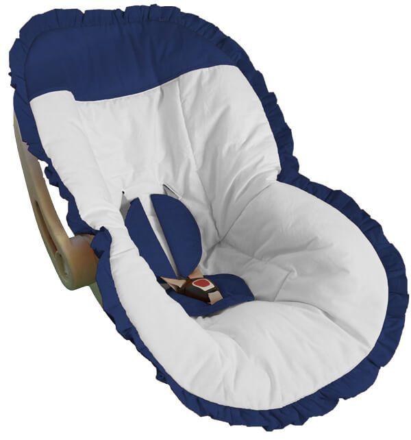 Capa para Bebê Conforto Branco com Babado Azul Marinho