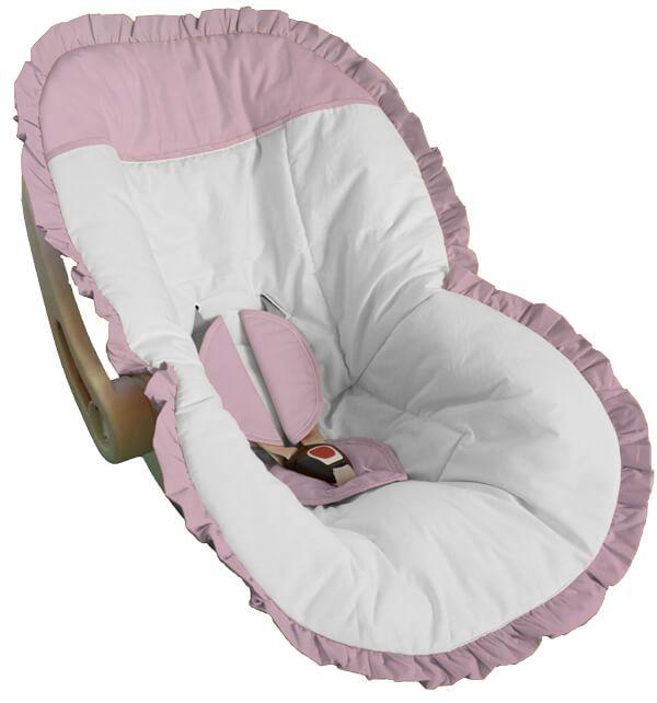 Capa para Bebê Conforto Branco com Detalhes e Babado Rosa Bebê