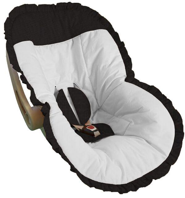Capa Bebê Conforto Branca Babado e Detalhes em Babado Preto