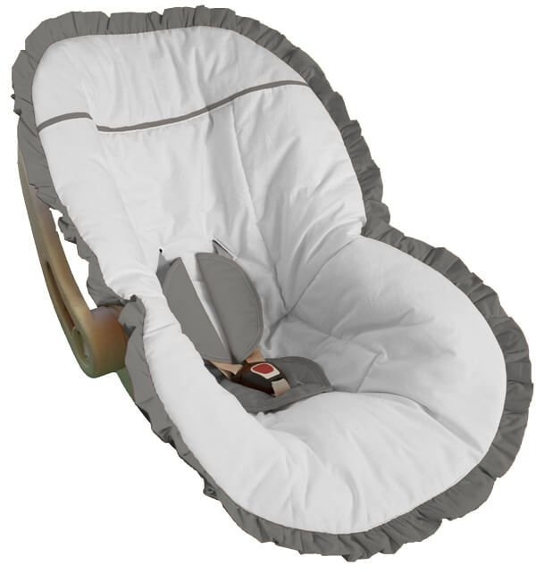 Capa Bebê Conforto Branca e Babado Cinza