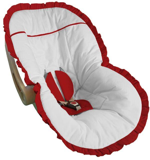Capa Bebê Conforto Branca e Babado Vermelho