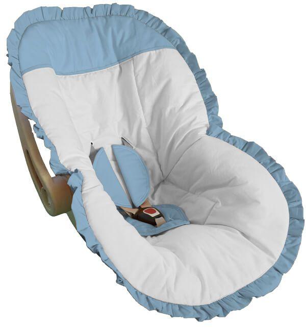 Capa Bebê Conforto Branco Babado e Detalhes em Azul Bebê