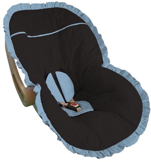 Capa Bebê Conforto Preta Babado Azul Bebê