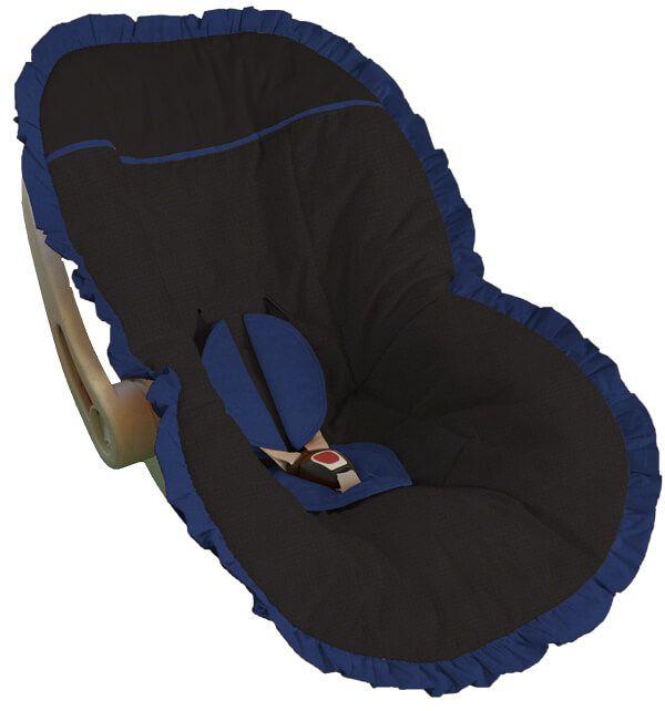 Capa Bebê Conforto Preta Babado Azul Marinho