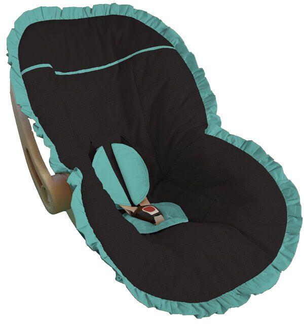 Capa Bebê Conforto Preta Babado Verde Tiffany