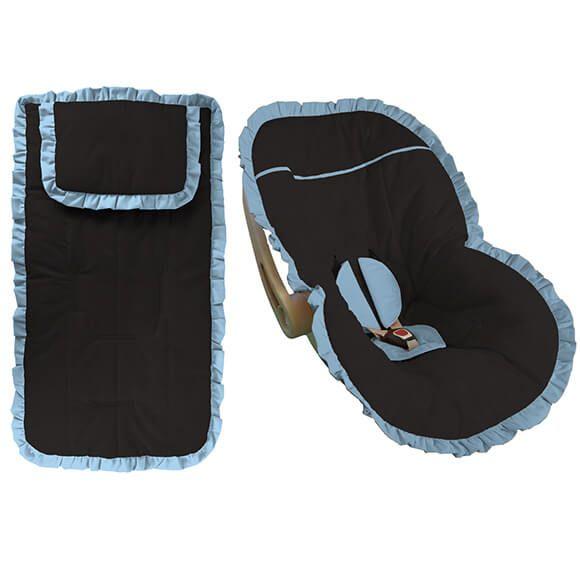 Conjunto Capa Bebê Conforto e Carrinho Preta com Babado Azul Bebê