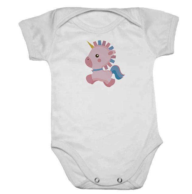 Body de Bebê Manga Curta Unicórnio Rosa