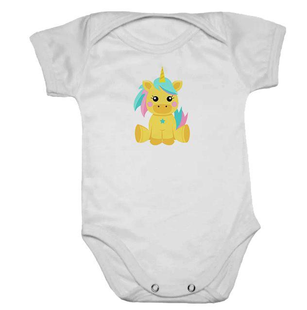 Body de Bebê Manga Curta Unicórnio Amarelo