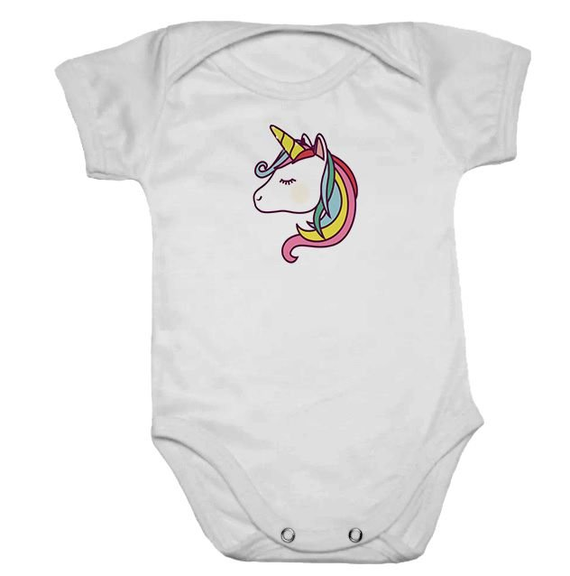 Body de Bebê Manga Curta Rosto de Unicórnio Arco iris