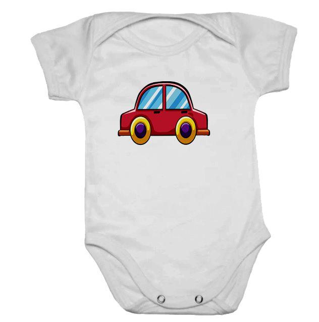Body de Bebê Branco Manga Carrinho Vermelho