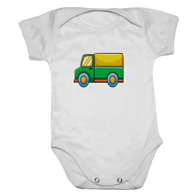 Body de Bebê Branco Manga Caminhão Verde