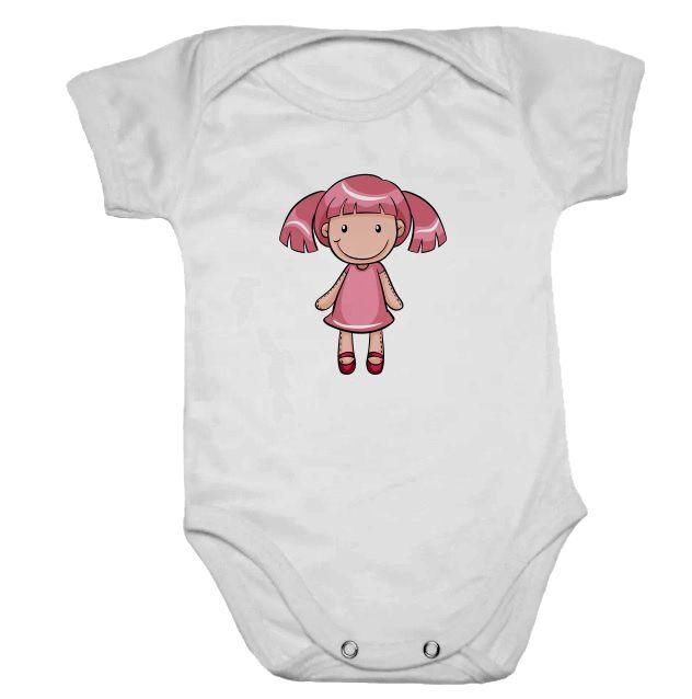 Body de Bebê Branco Manga Curta Bonequinha
